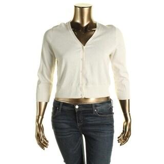 Lauren Ralph Lauren Womens Petites Cardigan Sweater Cotton Button front