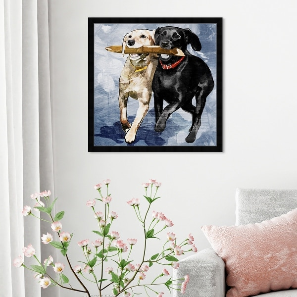 Oliver Gal 'Playtime Blue' Animals Framed Wall Art Prints Dogs and Puppies - Blue, Blue. Opens flyout.