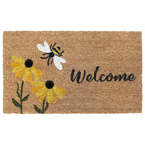 "RugSmith Multi Machine Tufted Welcome Flowers & Bee Doormat, 18""x30"""