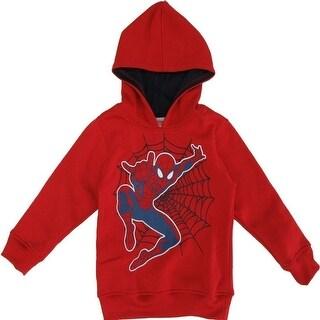 Marvel Little Boys Red Spider-Man Print Hooded Long Sleeved Top