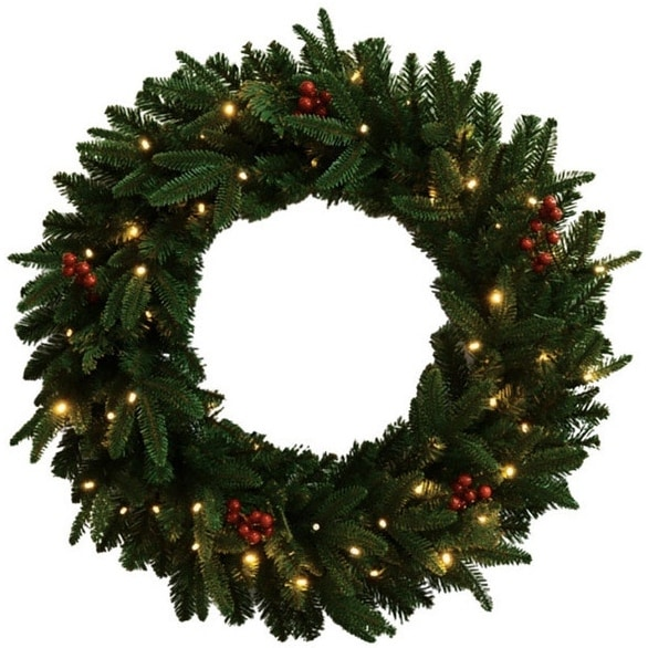 "Celebrations FCFFWR-30-BOWW Prelit Christmas Wreath, 30"", Green"