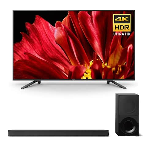 """Sony XBR-65Z9F 65"""" MASTER Series BRAVIA 4K HDR UHD TV and HT-X9000F 2.1-Channel Dolby Atmos Sound Bar with Subwoofer - Black"""