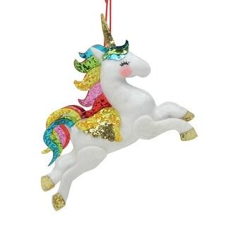 "Plush Leaping Rainbow Unicorn Hanging Christmas Ornament 6.5"" - N/A"