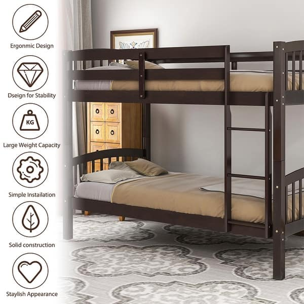 Merax Solid Wood Twin Over Twin Bunk Bed Frame With Ladder For Kids Teens On Sale Overstock 30617223