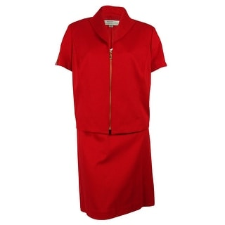 Tahari Women's Short Sleeve Zip Front Skirt Suit Set - 20W