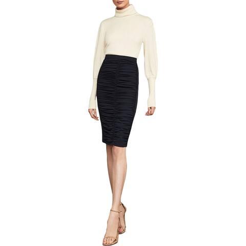 BCBG Max Azria Womens Pencil Skirt Ruched Twill