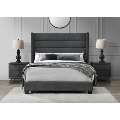 George Queen High Headboard Bed Charcoal