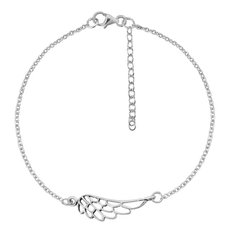 Handmade Freedom of Flight Wing Charm Sterling Silver Chain Bracelet (Thailand)