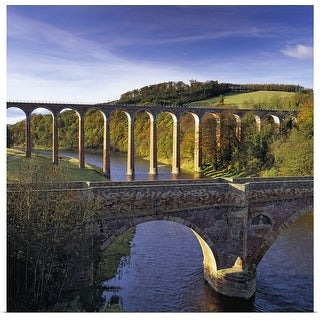 """""""Bridge and viaduct crossing the River Tweed near Melrose"""" Poster Print"""