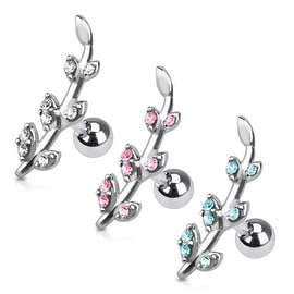 Gemmed Flower Vine 316L Surgical Steel Cartilage/Tragus Barbell (Sold Ind.)