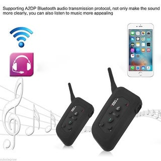 2x Bluetooth Motorcycle Helmet Intercom Interphone Headset 4Riders 1200m FM A2DP - Black