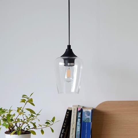 Black glass pendant light industrial ceiling hanging light