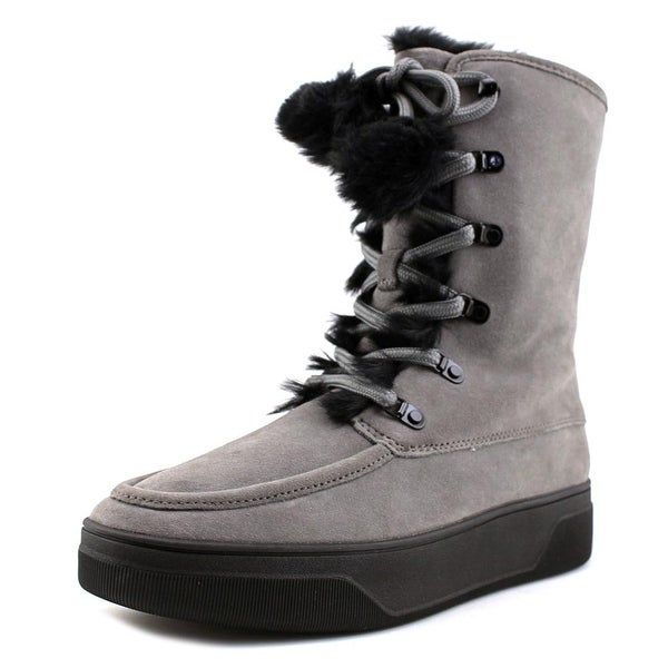 Michael Michael Kors Juno Lace Up Women Round Toe Suede Gray Winter Boot