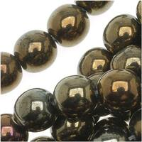 Czech Glass Druk Round Beads 6mm Brown Iris (50)