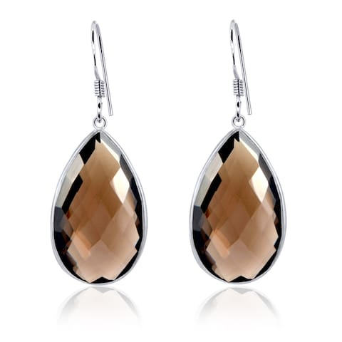 Smoky Quartz Sterling Silver Pear Dangle Earrings by Orchid Jewelry