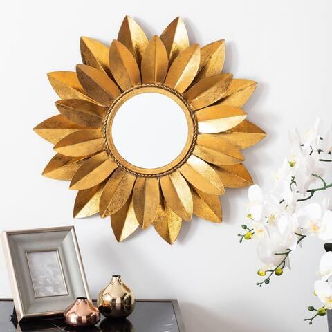 """Safavieh Larcen 22-inch Gold Flower Round Mirror - 22"""" W x 3"""" L x 22"""" H"""
