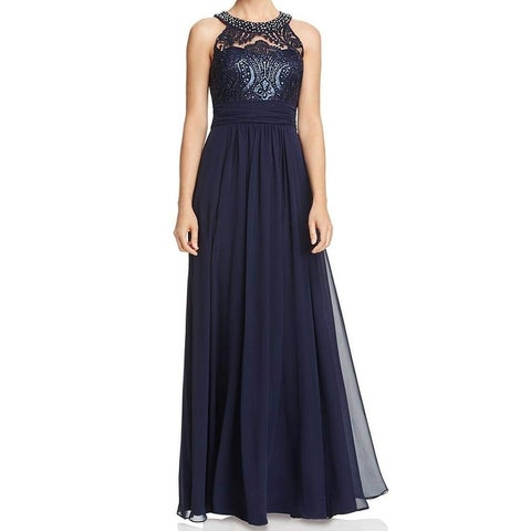 Eliza J Blue Women's Size 12 Embellish Lace Halter Gown Dress