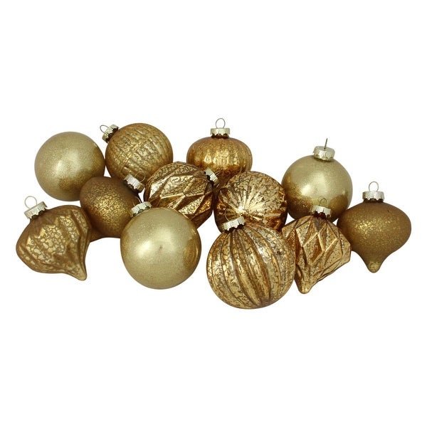 """12ct Gold Mercury Glass Christmas Glass Ball and Onion Drop Ornaments 4"""" (100mm)"""
