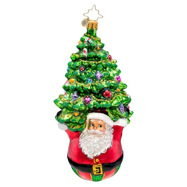 Christopher Radko Glass Joyful Lift Santa and Tree Christmas Ornament #1017104 - RED