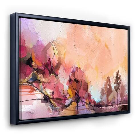 Designart 'Autumn Colored Forest Treescape XX' Farmhouse Framed Canvas Wall Art Print