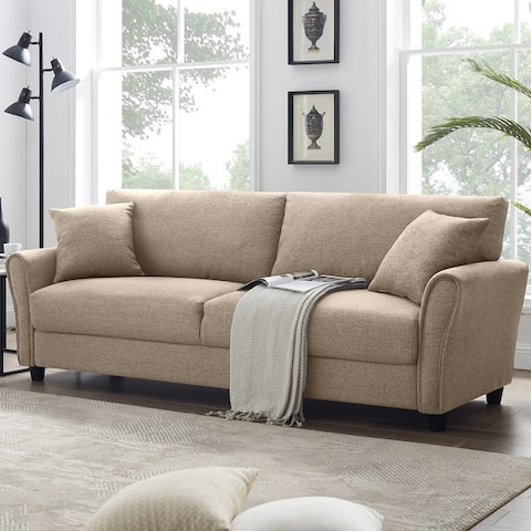 85 Inch Fabric Sofa, Modern Upholstered Linen Soft Couch Sofa