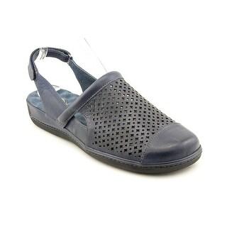 Softwalk Salina Women W Round Toe Leather Blue Slingback Sandal