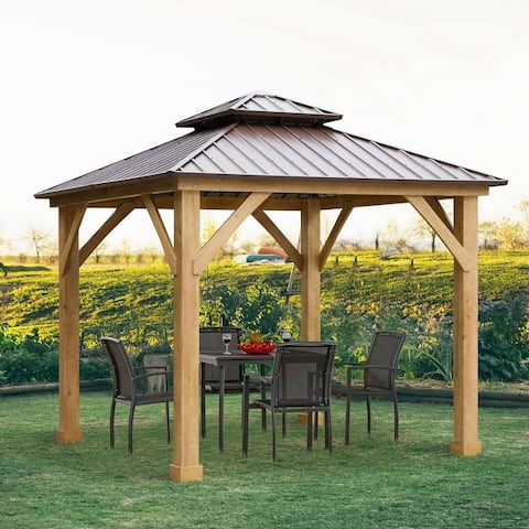 Outsunny 10' x 10' Hardtop Gazebo Canopy Patio Shelter Outdoor with Solid Wood Frame, Steel Double Tier Roof, Brown