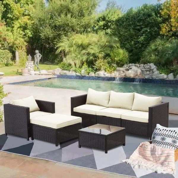 Zenova 5/6/7-Pieces Patio Rattan Sofa Wicker Sectional Sets with Pillows and Cushions. Opens flyout.