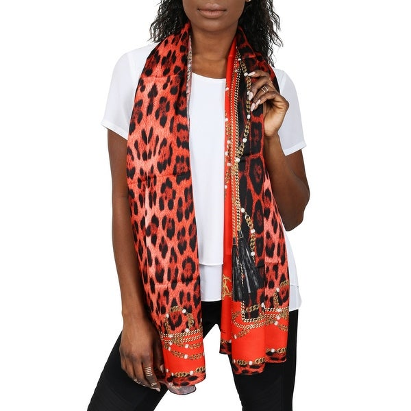 Roberto Cavalli C3802B710 400 Red Animal Print Scarf - 27-71