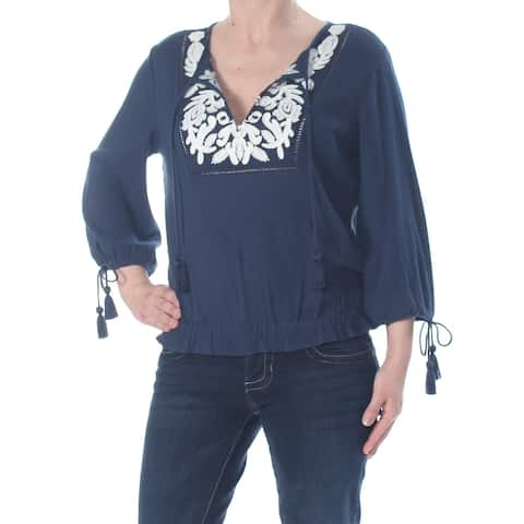 LUCKY BRAND Womens Navy Embroidered 3/4 Sleeve Peasant Top Size S