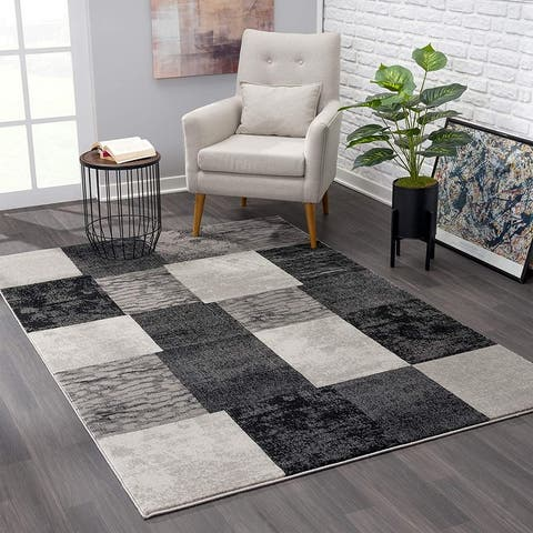 Rug Branch Montage Modern Abstract Area Rug and Runner, Brown/Grey