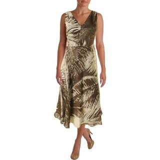 Lafayette 148 Womens Linen Printed Wear to Work Dress