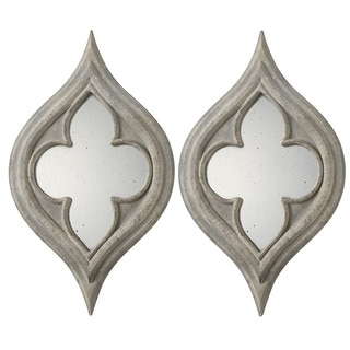Set of 2 Gray Distressed Stone Finished Quatrefoil Antiqued Wall Mirrors 24""