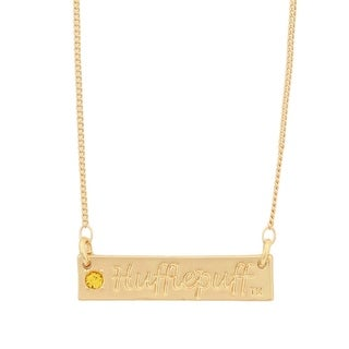 Harry Potter Hufflepuff Script Bar Necklace with Stone - Gold
