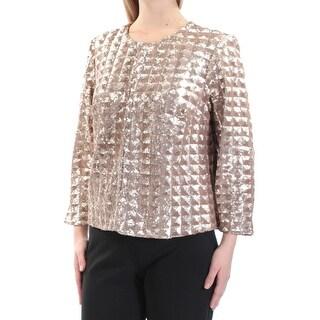 ALFANI $109 Womens New 1149 Gold Concealed Closure Evening Jacket M B+B