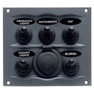 Marinco Waterproof Switch Panel 5 Switch W 12v Grey 900 5wps