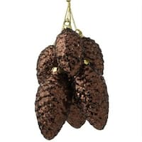 9.5 in. Modern Lodge Chocolate Brown Glitter Pine Cone Cluster