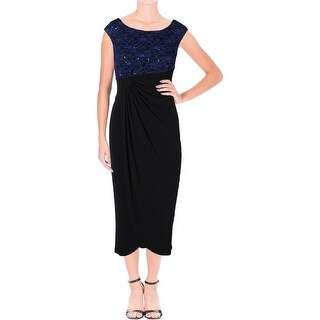 Connected Apparel Womens Petites Formal Dress Lace Bodice Ruched