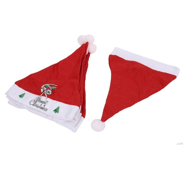 Adult Letters Jingle Bell Accent True Red Xmas Christmas Santa Claus Hat 5 Pcs