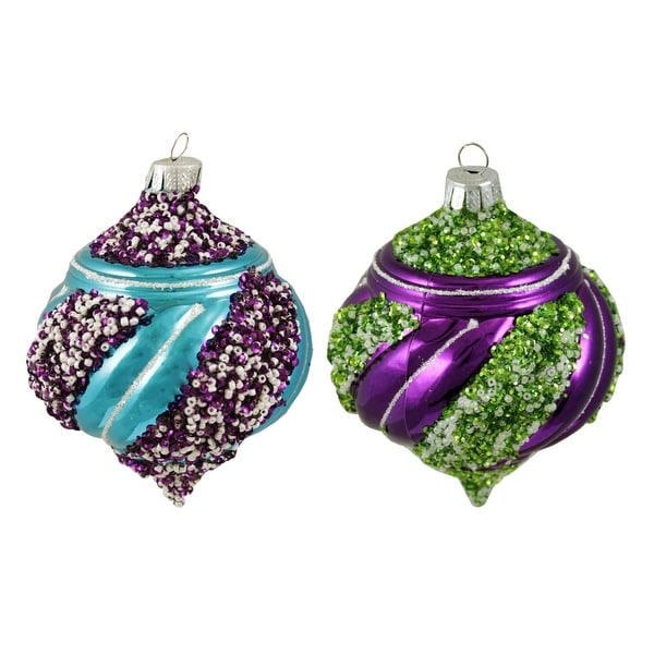 "2ct Colorful Beaded Twist Shiny Shatterproof Christmas Onion Ornaments 5"" - multi"