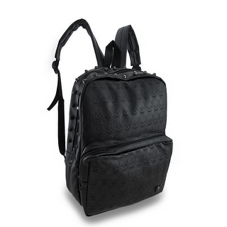 Embossed Skulls Studded Black Vinyl Backpack