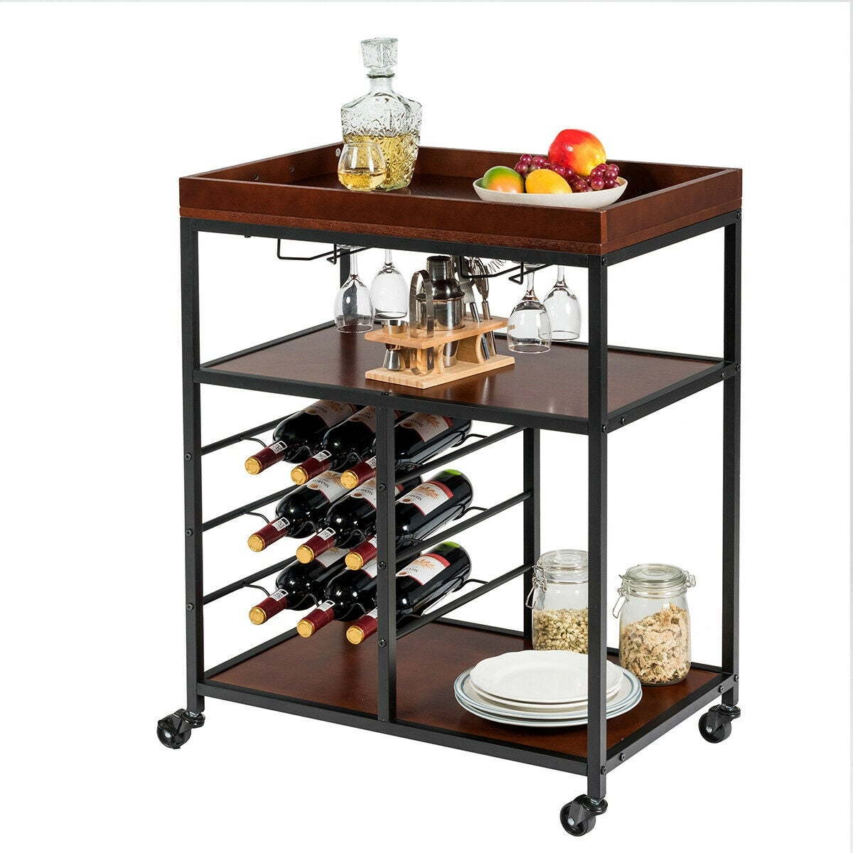Gymax 3 Tier Storage Kitchen Trolley Utility Bar Serving Cart w/Wine Rack &  Glass Holder