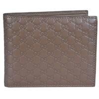 """Gucci Men's 260987 Cocoa Brown Leather MICRO GG Guccissima Bifold Wallet - 4.5"""" x 3.5"""""""