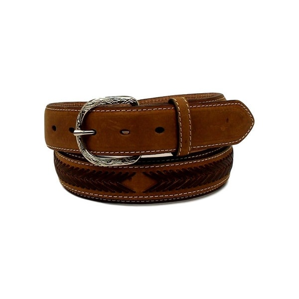 Nocona Western Belt Mens Top Hand Lacing Overlay Oval Brown