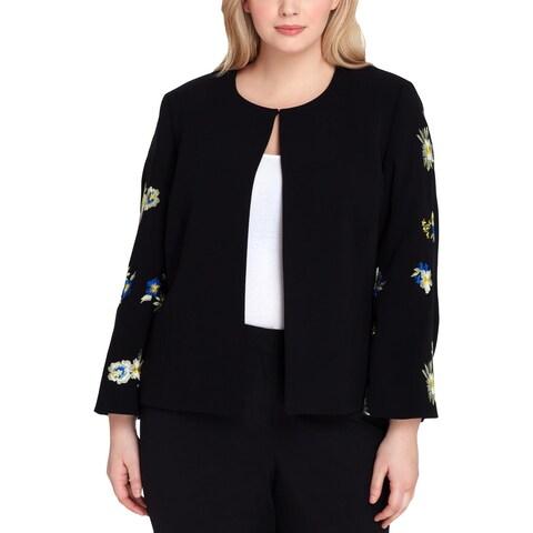 Tahari ASL Womens Plus Collarless Blazer Embroidered Floral