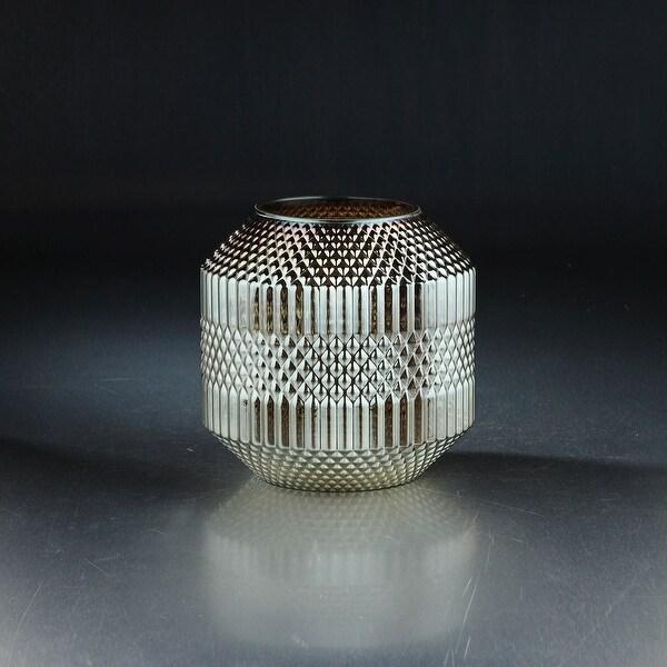 "8"" Silver Geometrical Pattern Glass Vase Tabletop Decor - N/A"
