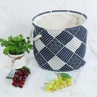 "Linen Fabric Storage Bin Box Basket Organizer 13"" x 9.8"" Navy Blue Rhombus Style - Navy Blue Rhombus - 13"" x 9.8"""