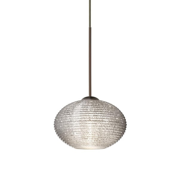 Besa Lighting 1XT-5612GL Lasso 1-Light Halogen Cord-Hung Mini Pendant with Glitter Glass Shade