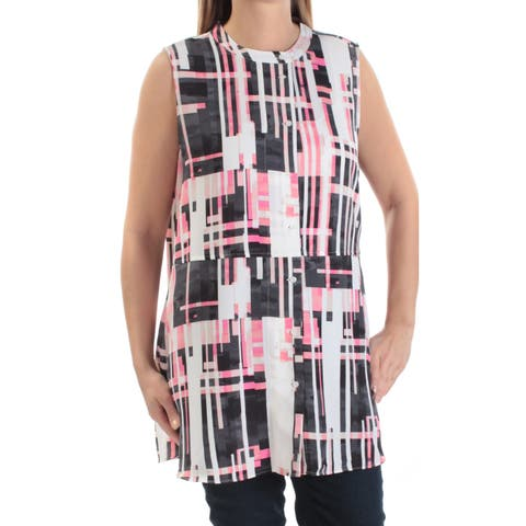 ALFANI Womens Pink Geometric Sleeveless Crew Neck Button Up Top Size: L