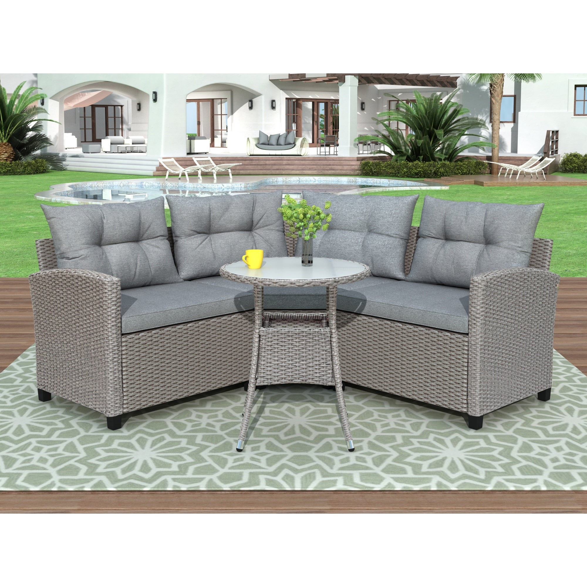 Picture of: Shop Leisure Zone 4 Piece Resin Wicker Patio Furniture Set With Round Table Overstock 31319065